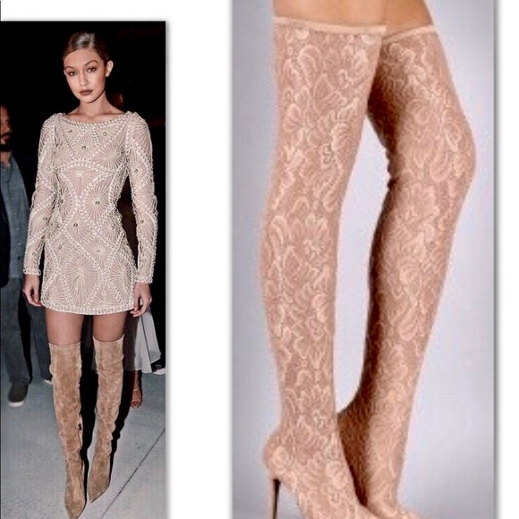 Nude Lace Over The Knee Boot Soldout